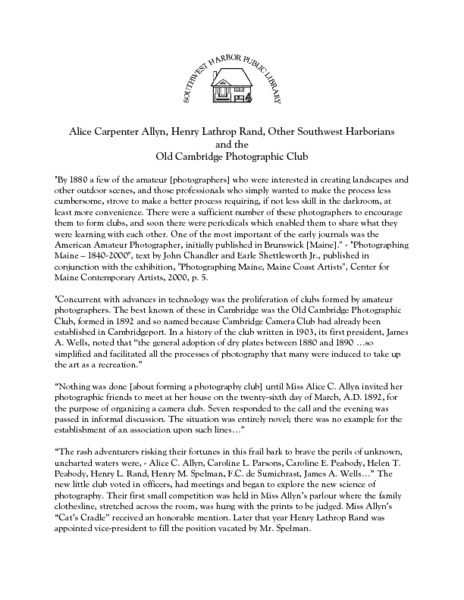 The Old Cambridge Photographic Club