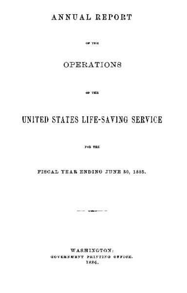 Annual Report - Peaked Hill Bar Life Saving Station, 1885