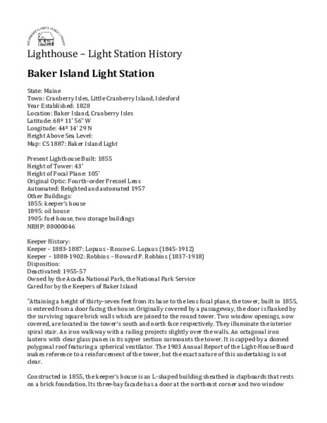 Baker Island Light