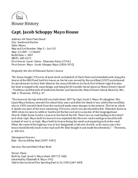 Captain Jacob Schoppy Mayo House