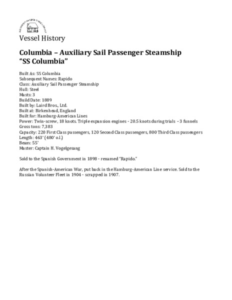 S.S. Columbia - Auxiliary Sail Passenger Steamship