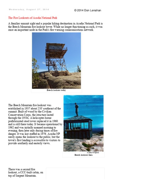 The Fire Lookouts of Acadia National Park