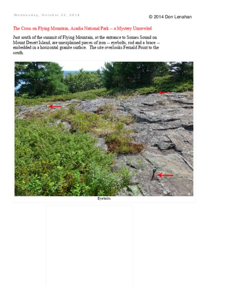 The Cross on Flying Mountain, Acadia National Park - a Mystery Unraveled