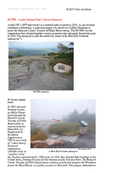 HCTPR - Acadia National Park's Newest Memorial