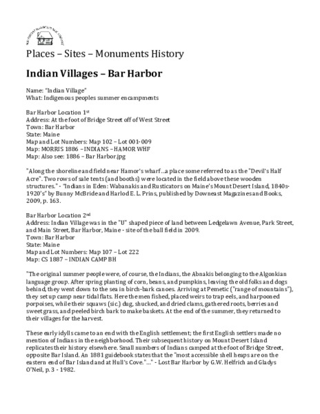 Indian Villages - Bar Harbor