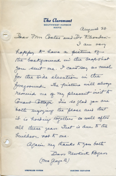 Letter from Eliza Jacobus (Newkirk) Rogers to Mrs. Coates and Dr. Rhoades