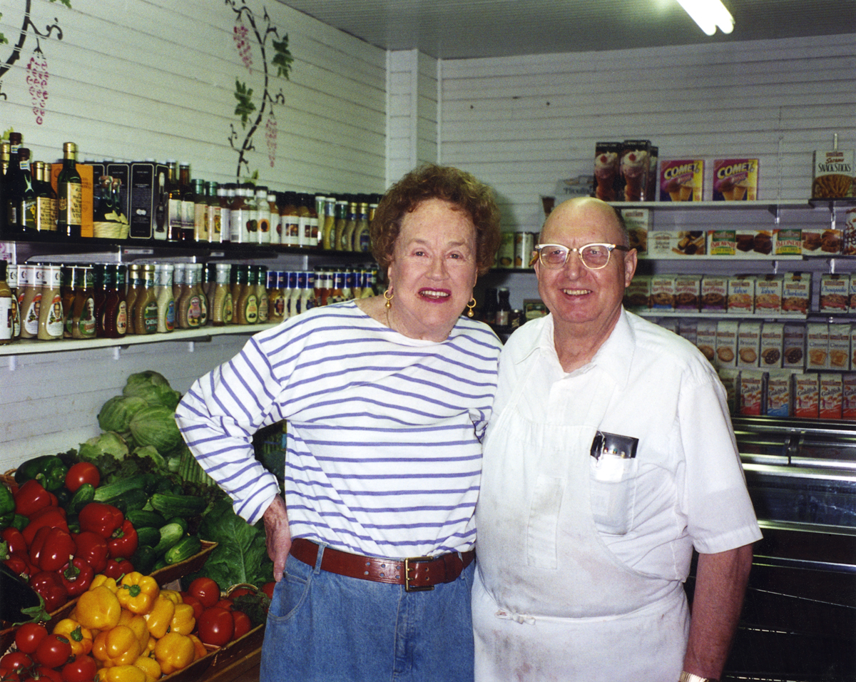 Julia Child and Donald Worcester at Sawyers Market