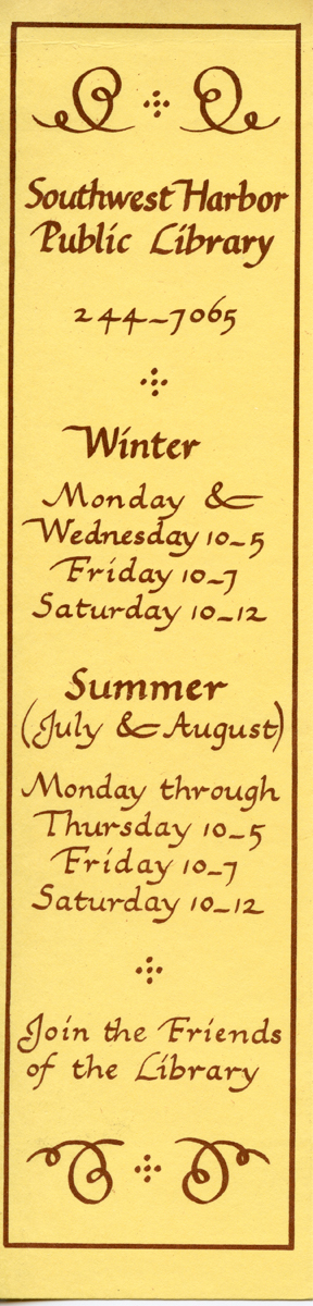 First Bookmark Published by the Southwest Harbor Public Library