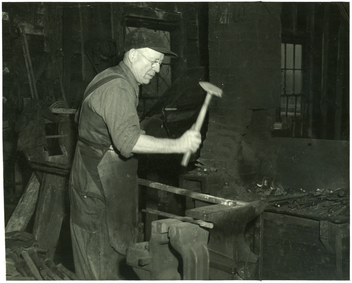 Fred Eaton Young in his Blacksmith Shop, Main Street, Southwest Harbor, Maine