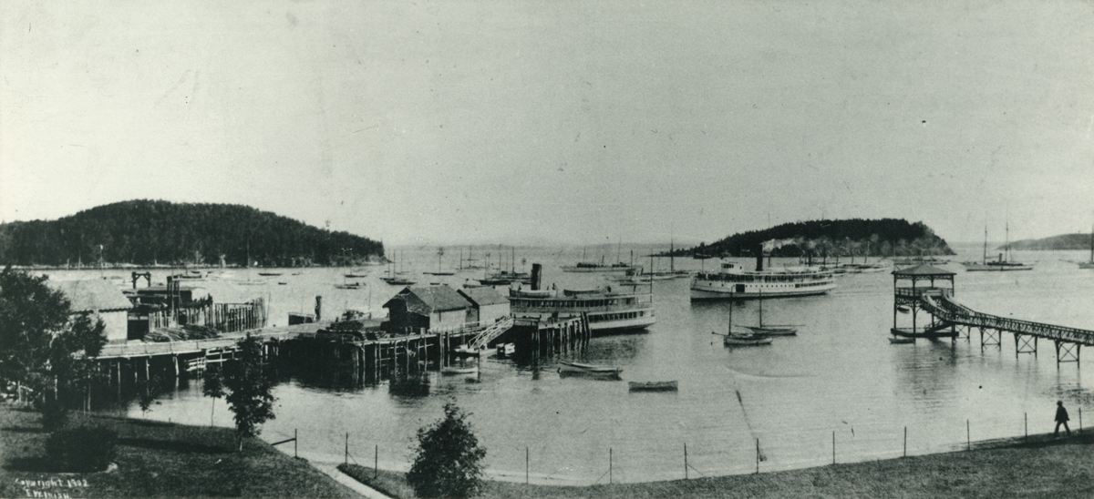 View of the Maine Central Ferry Landing at Bar Harbor from the Newport House Piazza