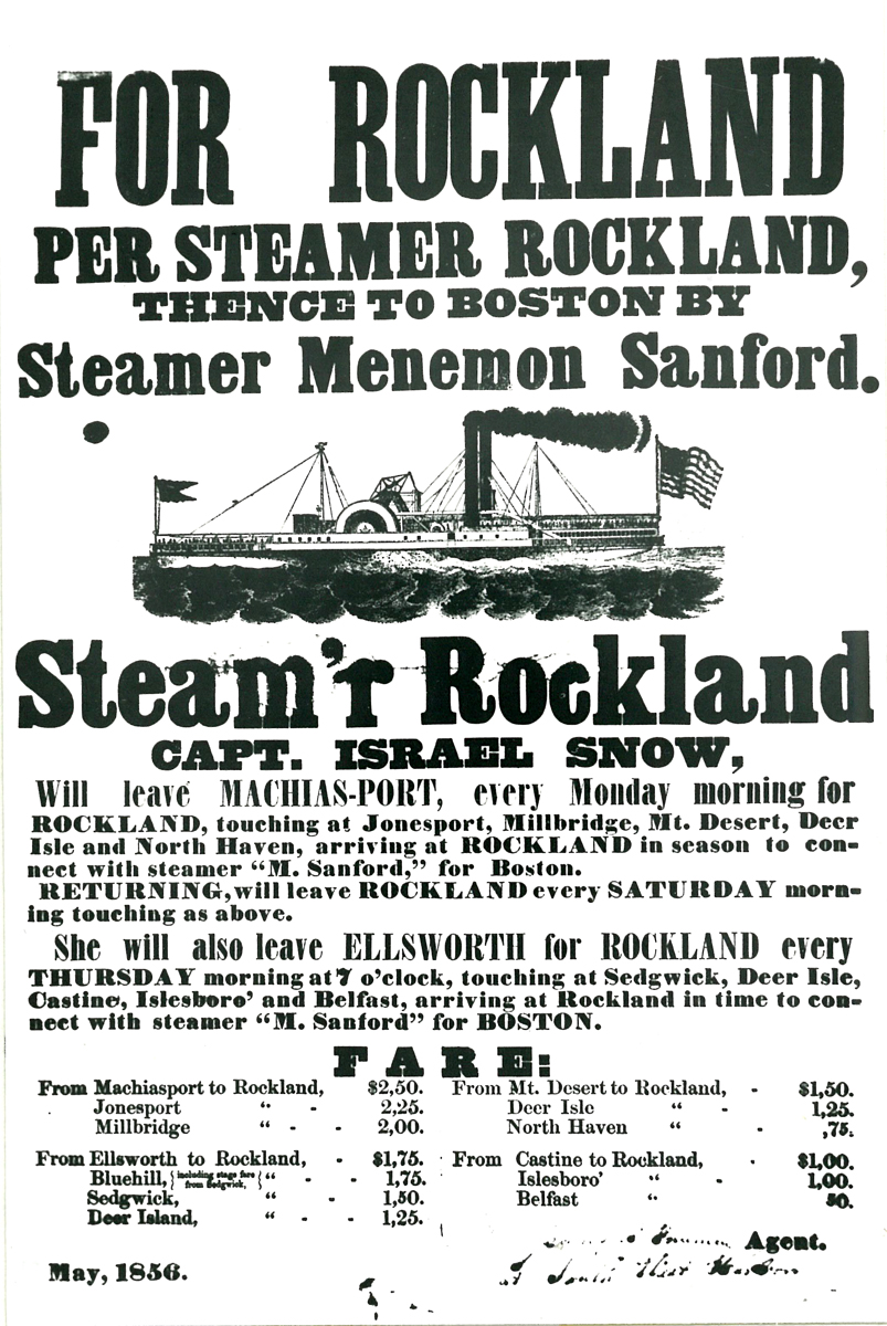Timetable for Sidewheel Steamer Rockland