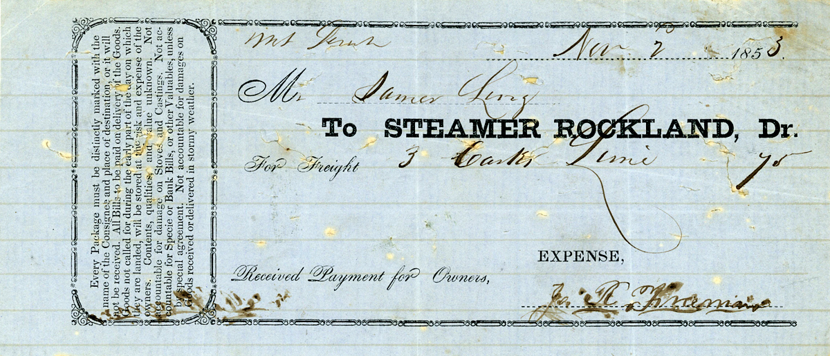 Freight Bill from the Sidewheel Steamer Rockland