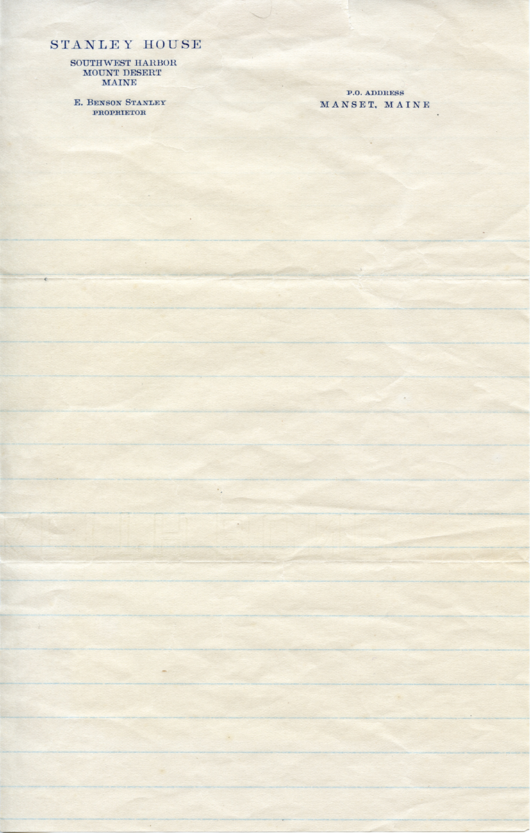 Letterhead from the Stanley House