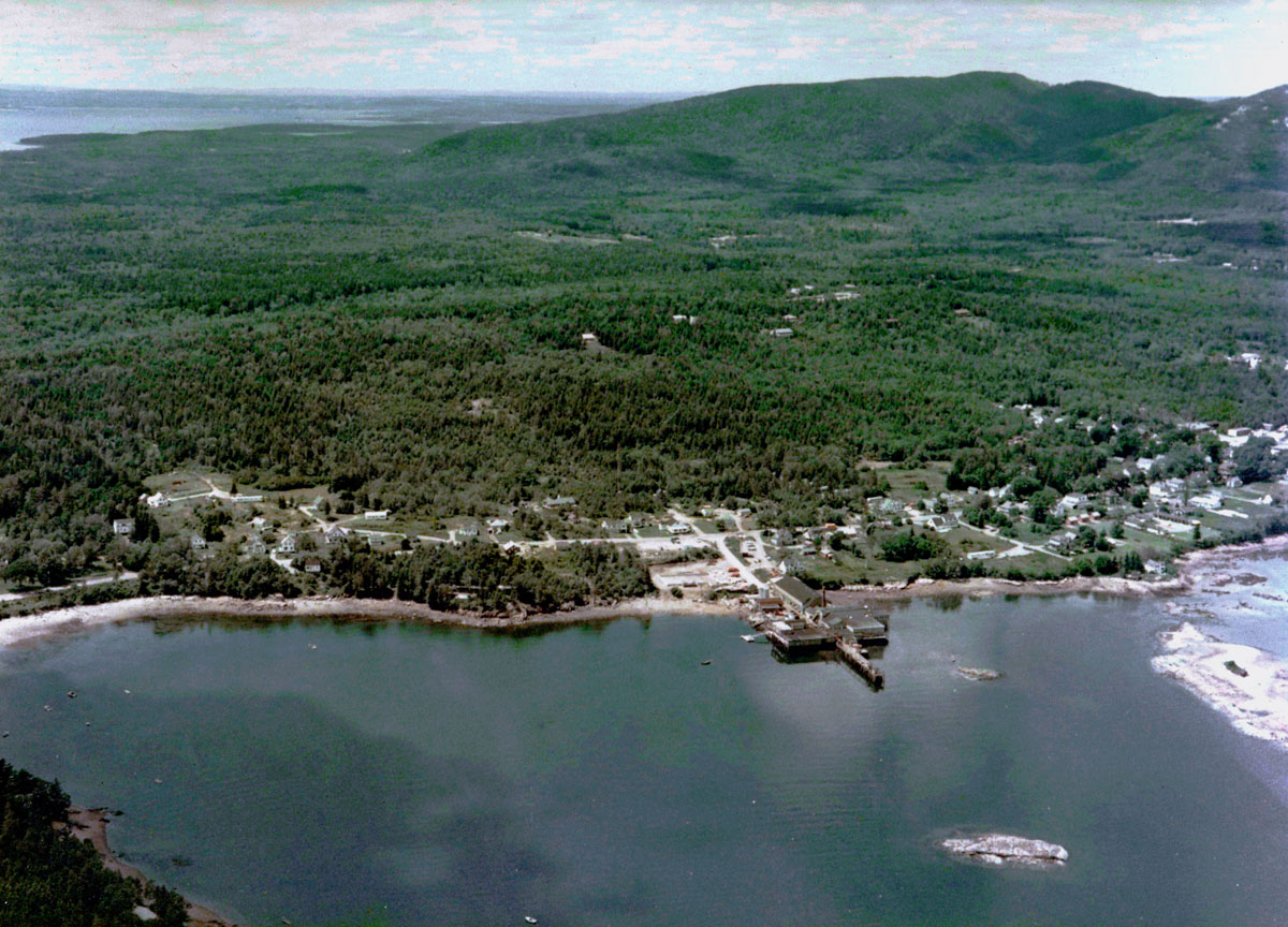 Aerial View of the Head of Southwest Harbor, Maine and Blue Hill Bay to the West