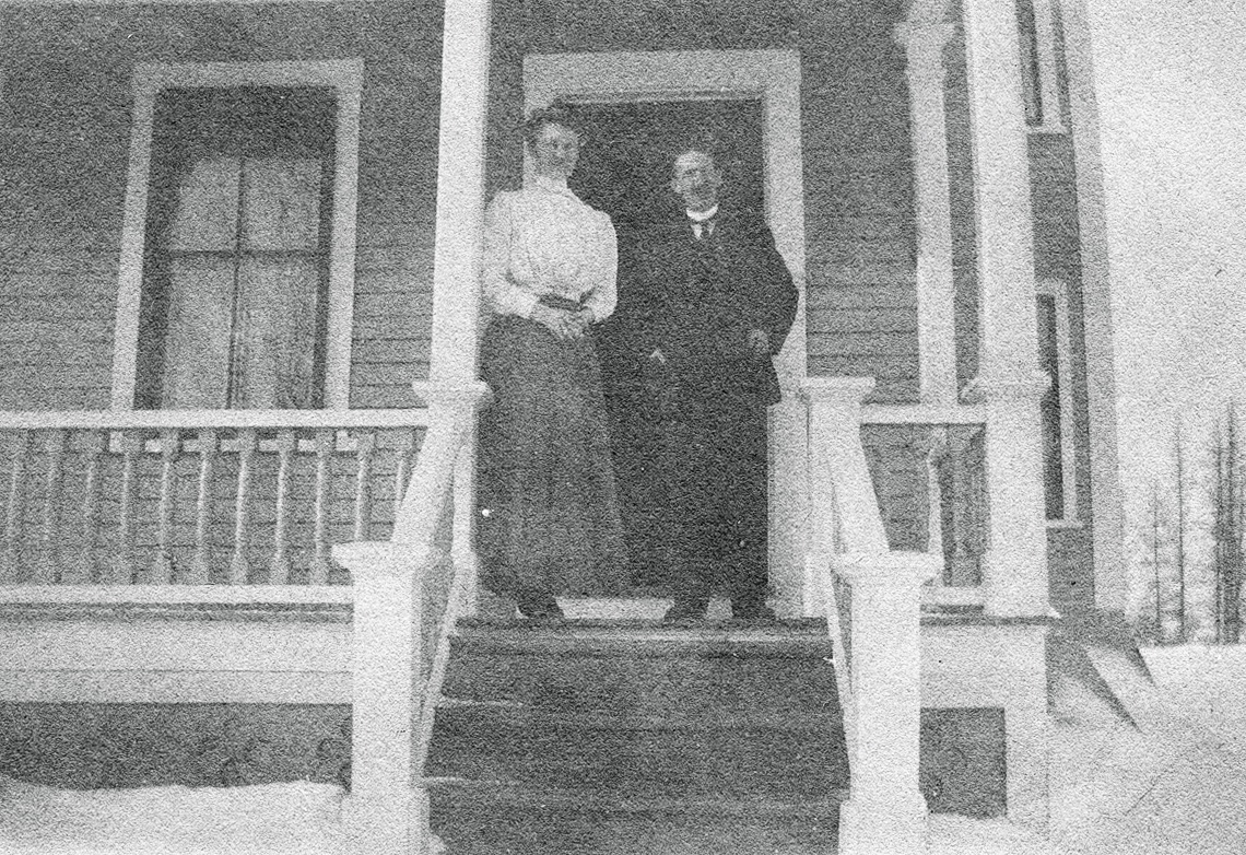 Mr. and Mrs. Seth Sprague Thornton (Nell Rebecca (Carroll) Thornton) at Home in Houlton, Maine