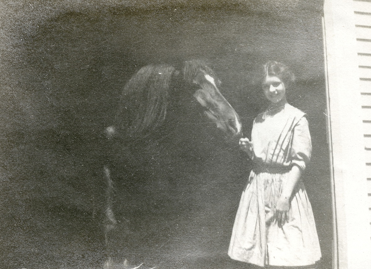 Winifred Russell Carroll with Prince at Houlton, Maine