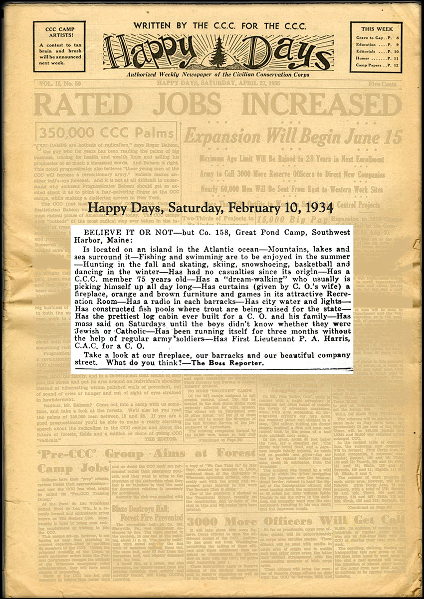 Article from Happy Days - Civilian Conservation Camp Newspaper