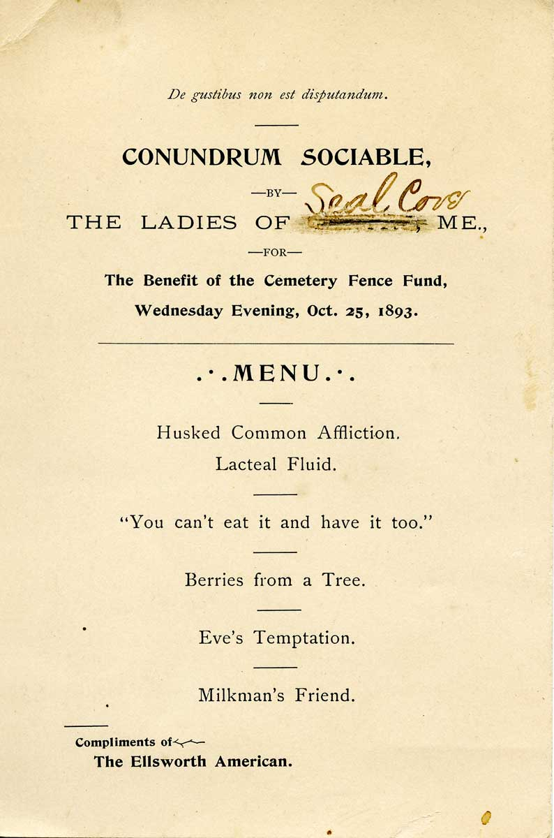 Invitation to a Conundrum Social for the Benefit of the Seal Cove Cemetery Fence Fund