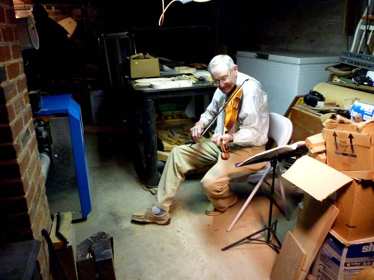 Ralph Stanley Playing the Violin in his Violin Workshop