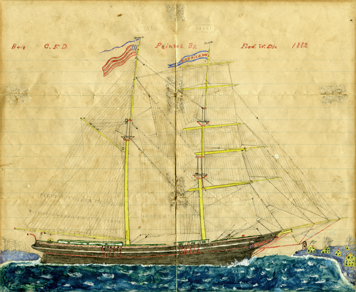 Painting of Brig Carrie F. Dix - Lisbon 1882