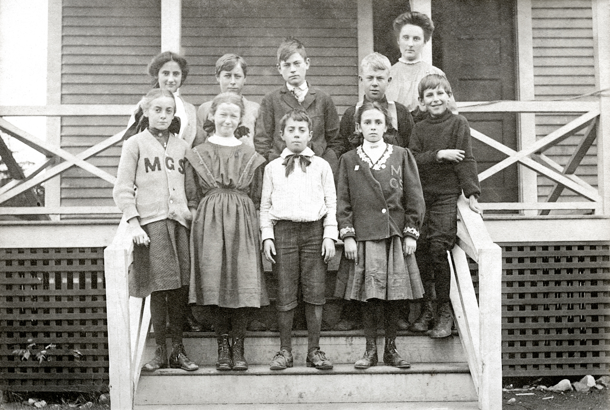 Teacher and Students at the Manset School