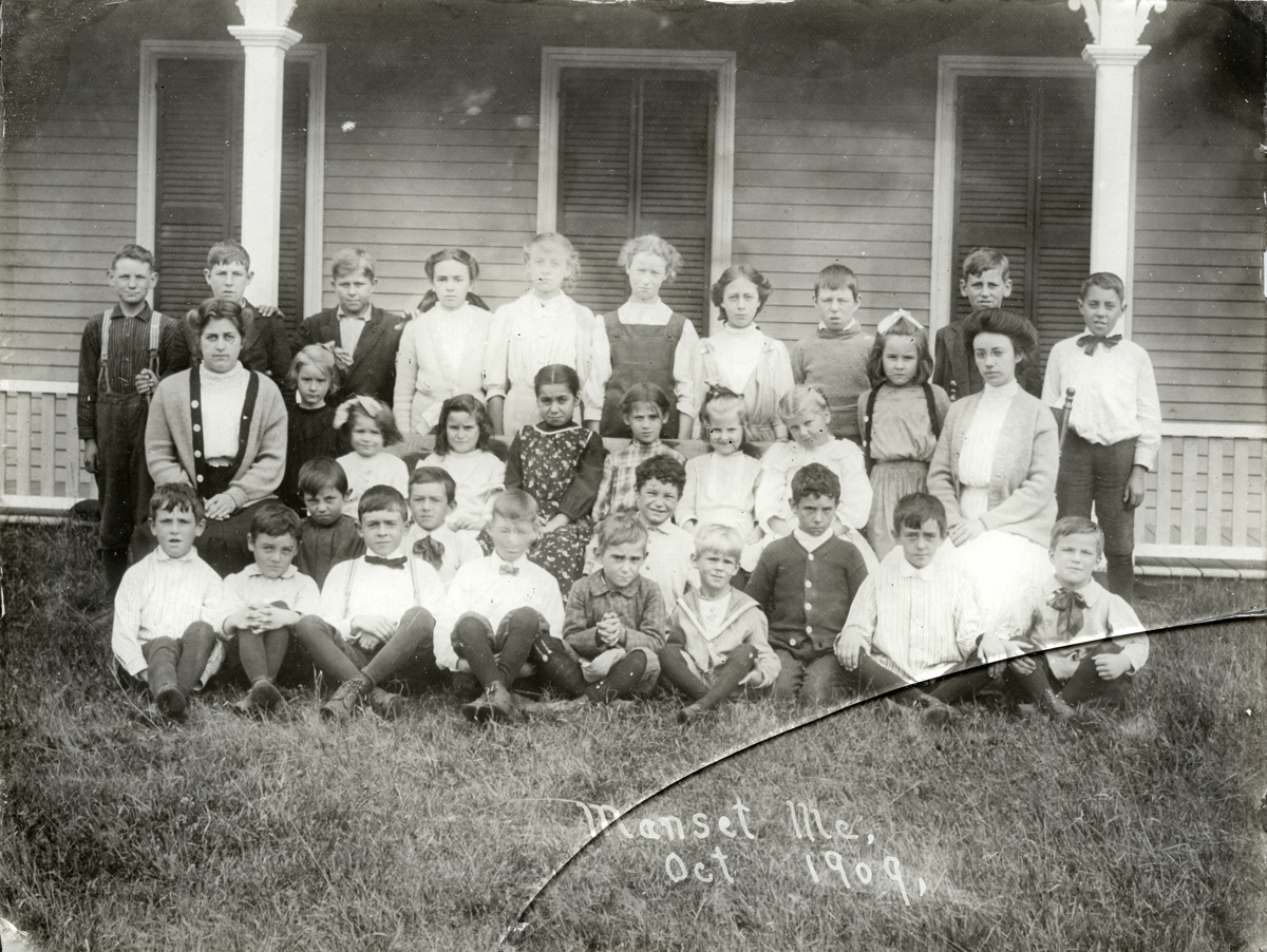 Manset School Students on the Steps at Ocean House Cottage/Annex
