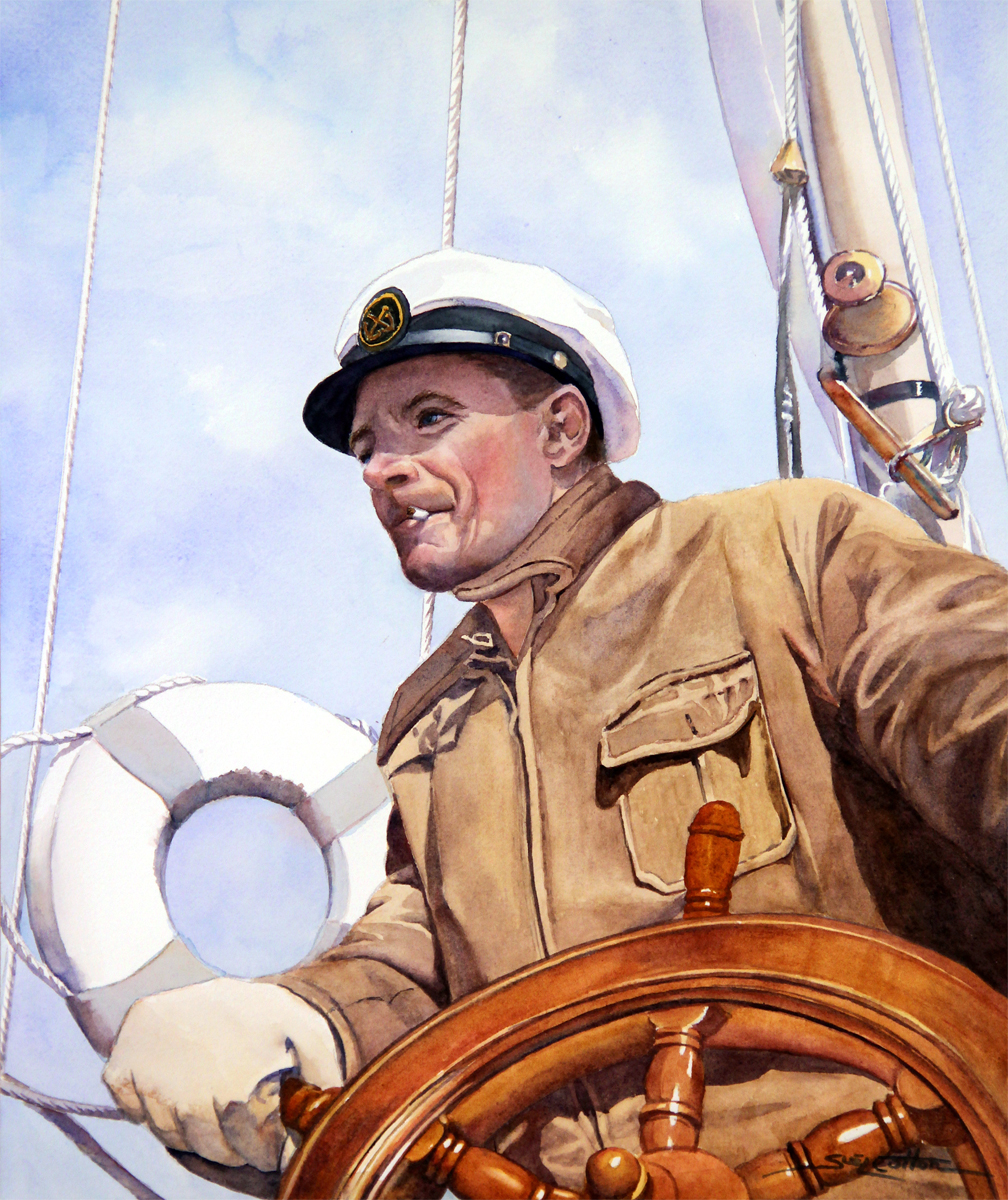 Chester Warren Stanley at the Helm of Yawl, Cinchona