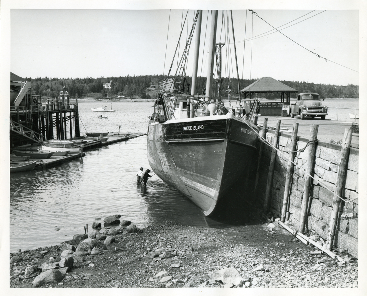 Washing the Bottom of Dragger Rhode Island at Southwest Harbor Town Dock