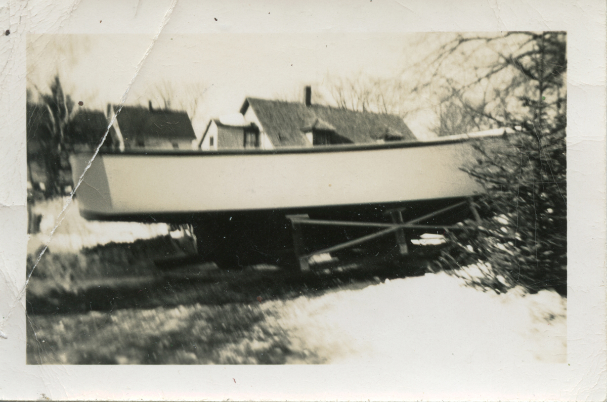 Lobster Boat Meredith I in the Yard Before Cabin Built