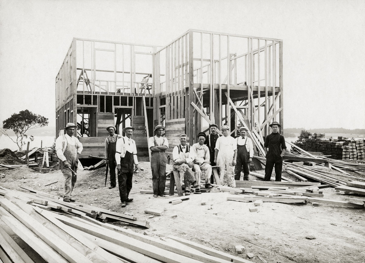 Edwin Leon Higgins, House Carpenter and Crew, at Work on His House