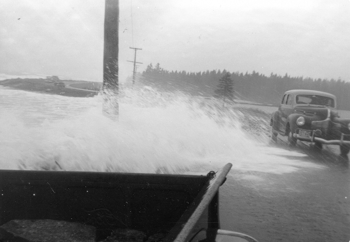 View of Seawall from Lobsterland in a Storm