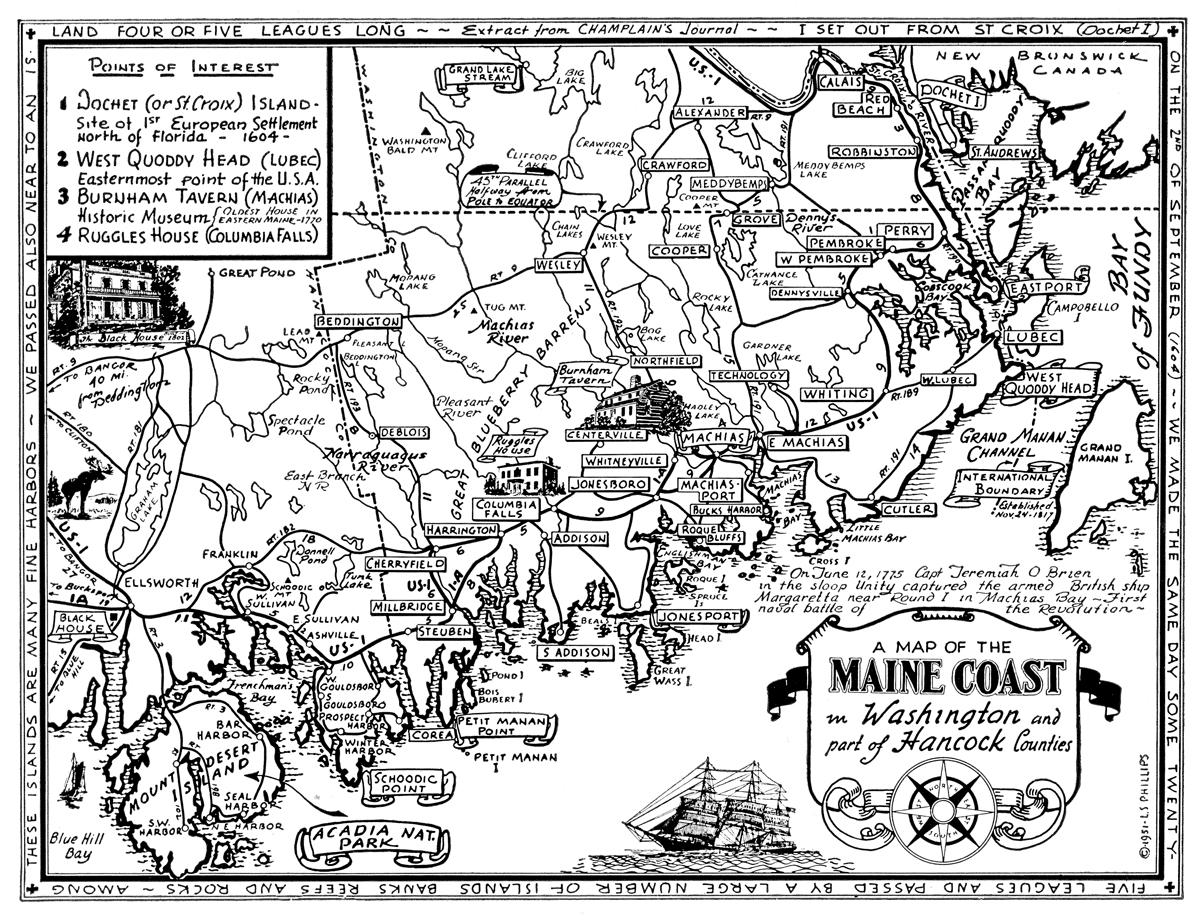 Map of Washington and Part of Hancock Counties, Maine