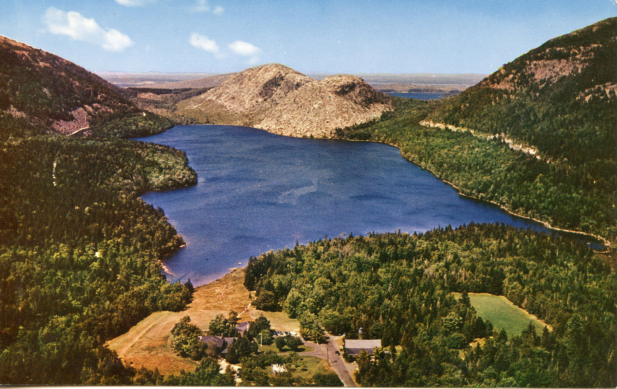 Aerial View of Jordan Pond and the Bubbles