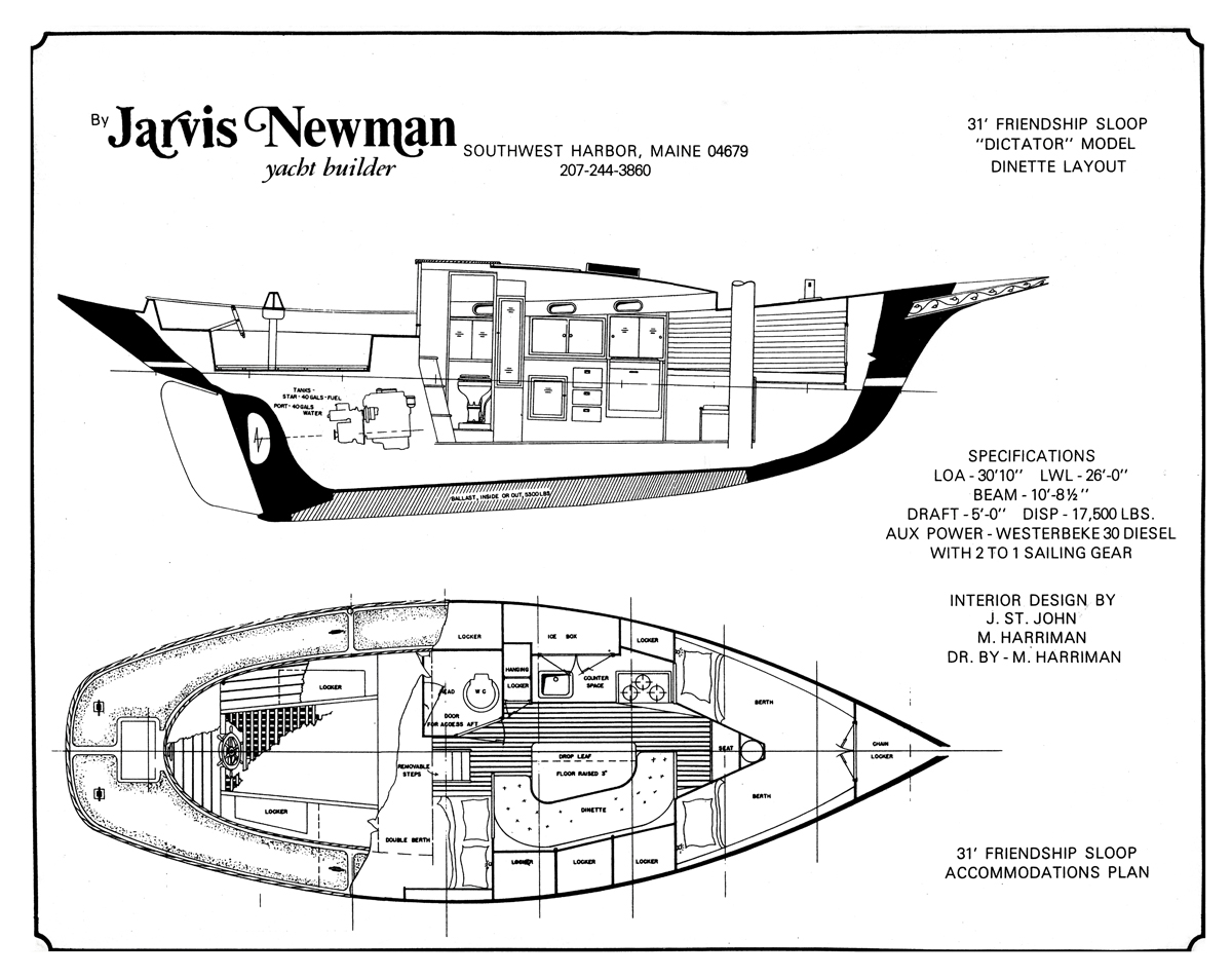 Friendship Sloop Dictator - Plans for the Fiberglass Jarvis Newman 31