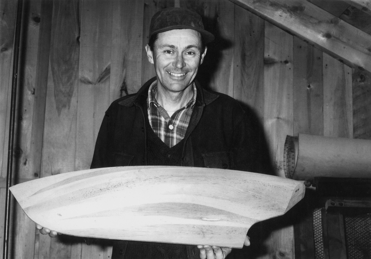 Ralph Stanley with Half Model of Maine Sloop Boat Hieronymus - Built for Albert Albie Pancoast Neilson