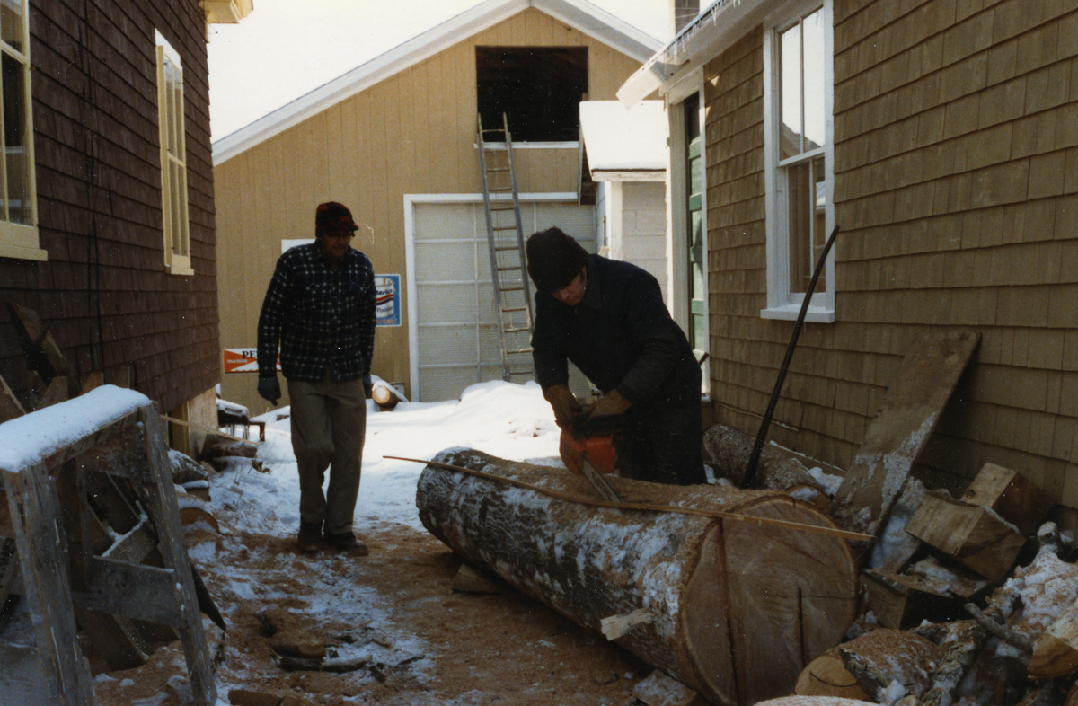 "Cutting a log for the horn timber for ""Endeavor"""