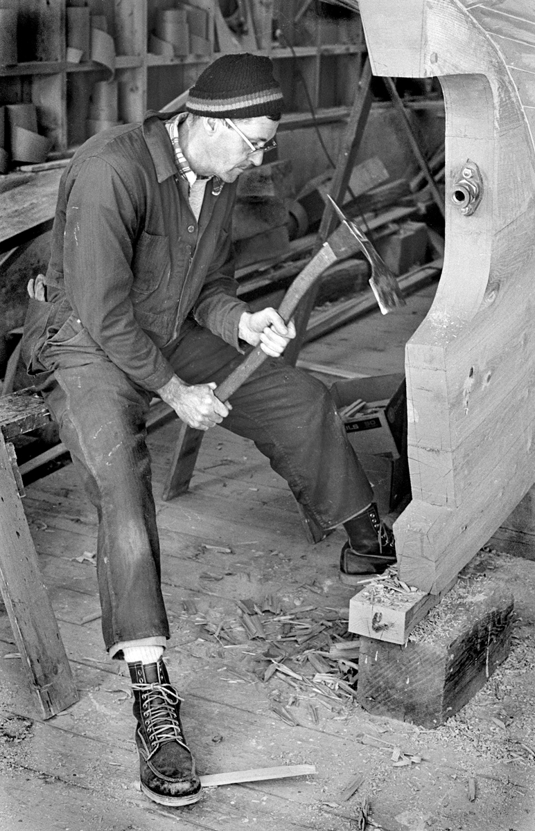 Ralph Warren Stanley Shaping the Keel of Freedom with an Adze