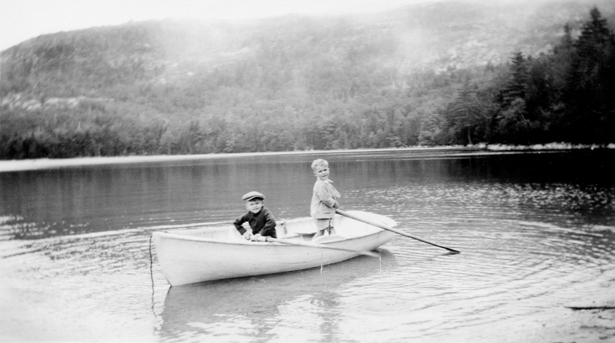 Ralph Warren Stanley, Five Years Old, and Robert M. Bannister at Long Pond