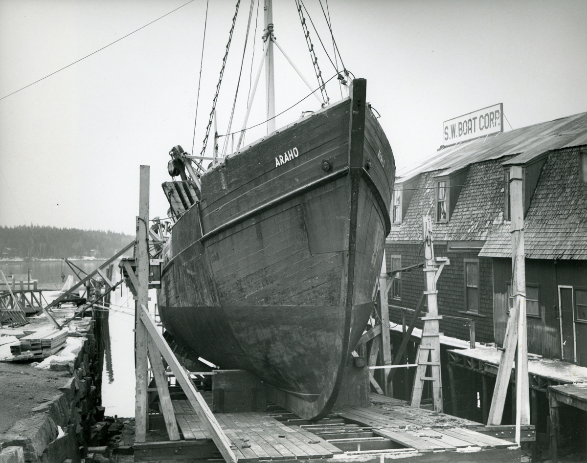 Schooner Araho Out of the Water at Southwest Boat Corporation