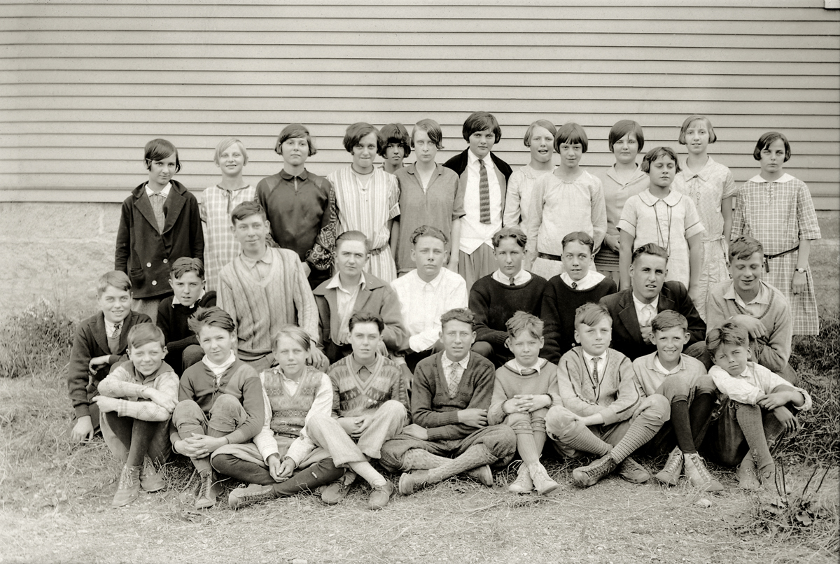Students at the Southwest Harbor High School - Mixed Grades 1928