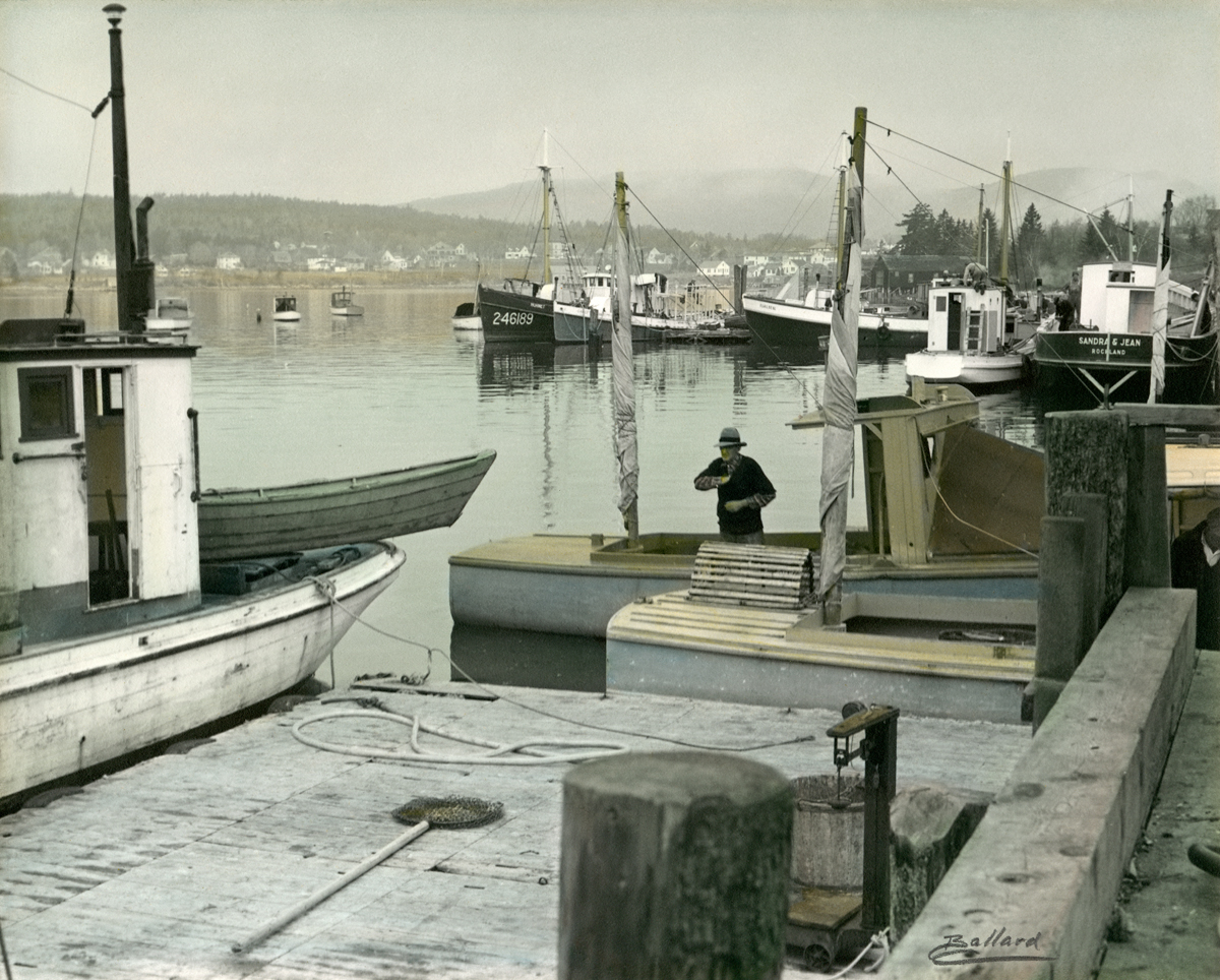 George Benjamin Dolliver Aboard His No-Name Wesley Bracy Boat at Beal's Fish Wharf