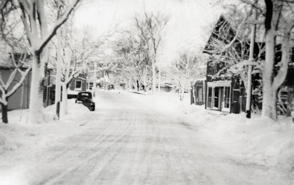 Clark Point Road - View West to Main Street in the Snow