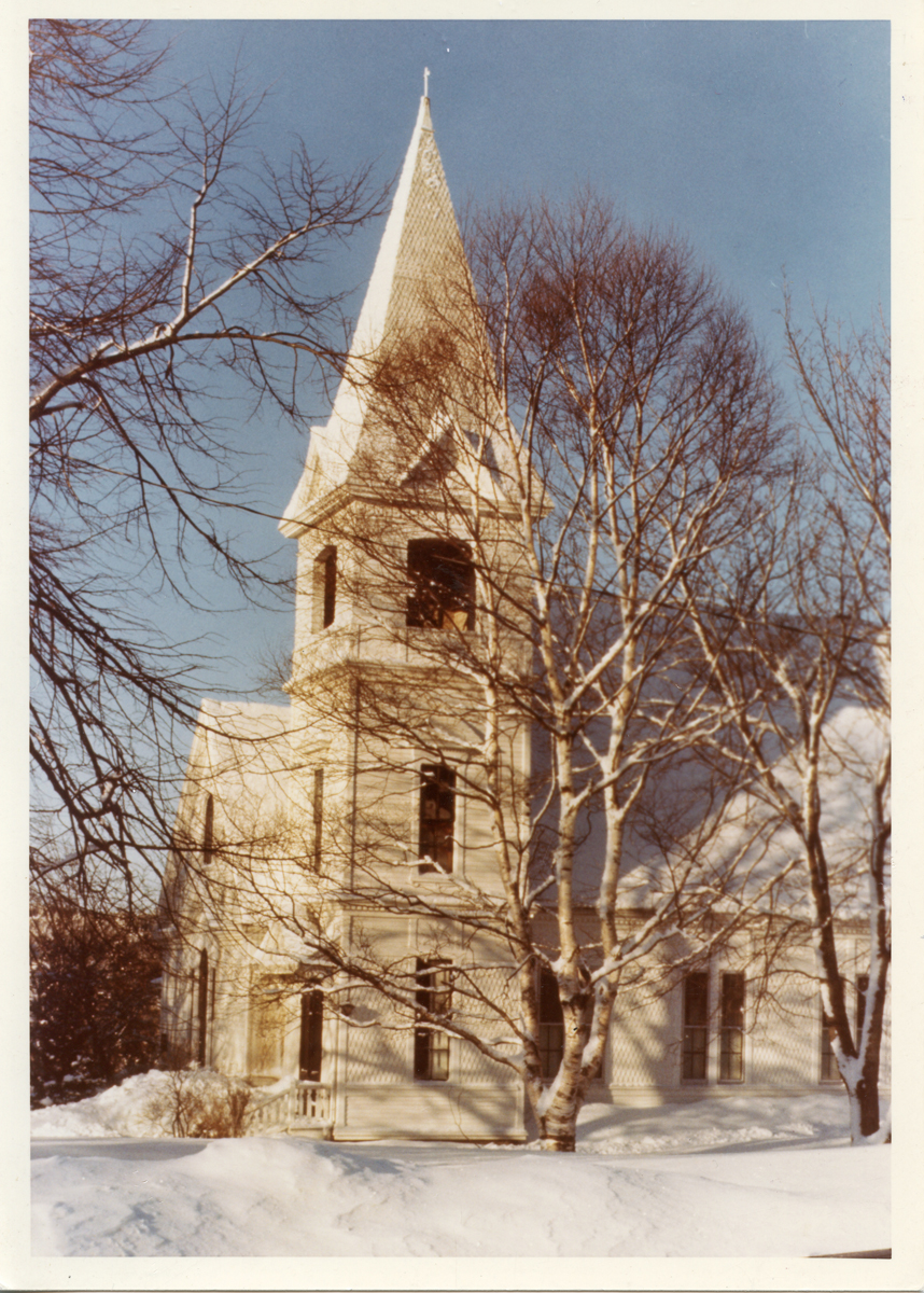 The Southwest Harbor Congregational Church in the Snow