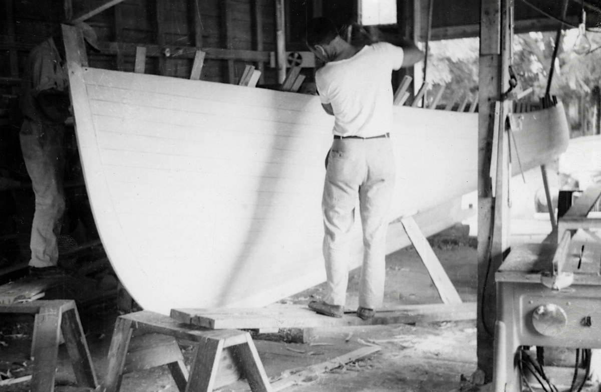 Ralph Merrill Grindle Working on a Lobster Boat