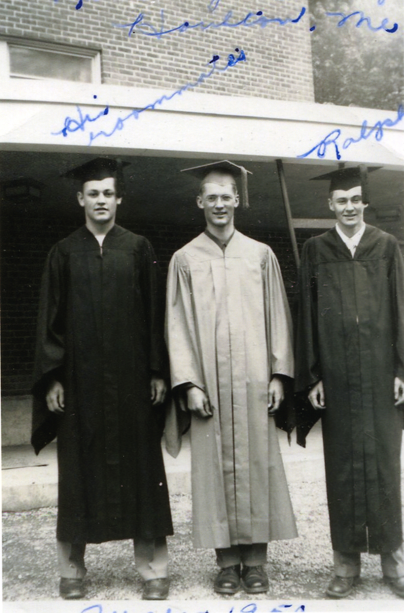 Ralph Warren Stanley and Two Roommates in Graduation Gowns