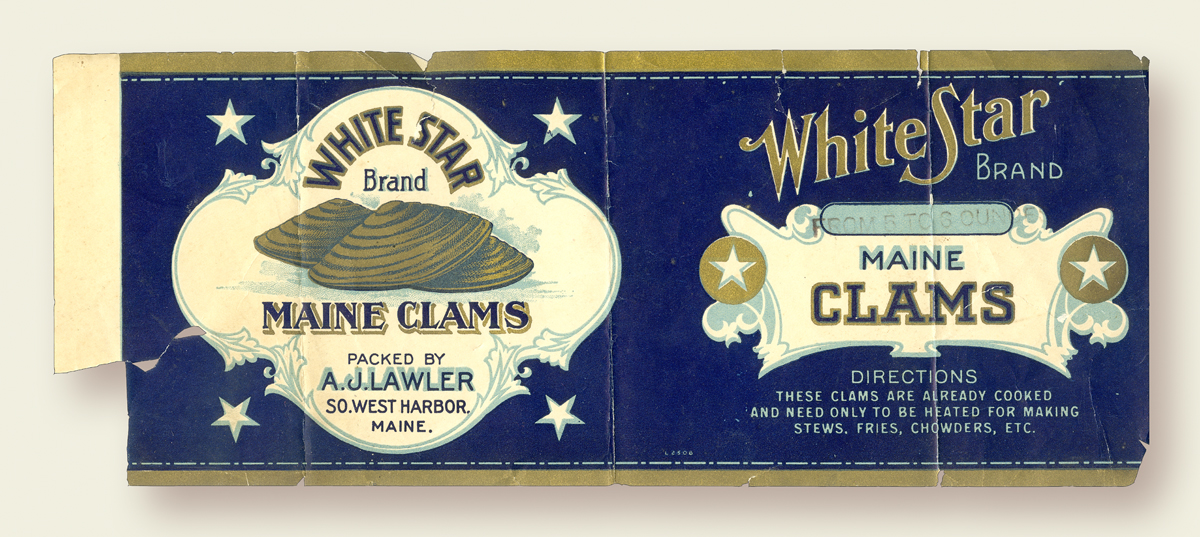 Allen J. Lawler's Clam Factory - White Star Clams Label