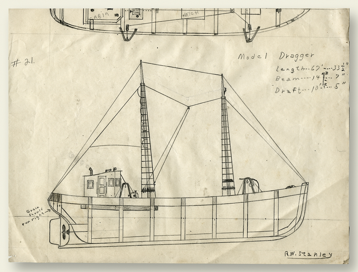 Ralph Warren Stanley's Childhood Drawing of a 67' Dragger