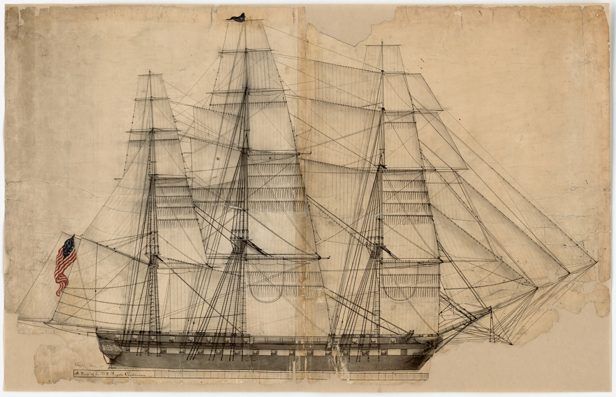 USS Constitution - Outboard Profile with Sail Plan
