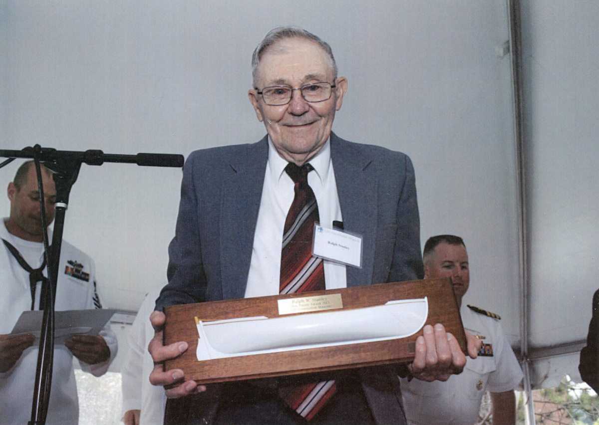 Ralph Warren Stanley with the Don Turner Award from the USS Constitution Museum