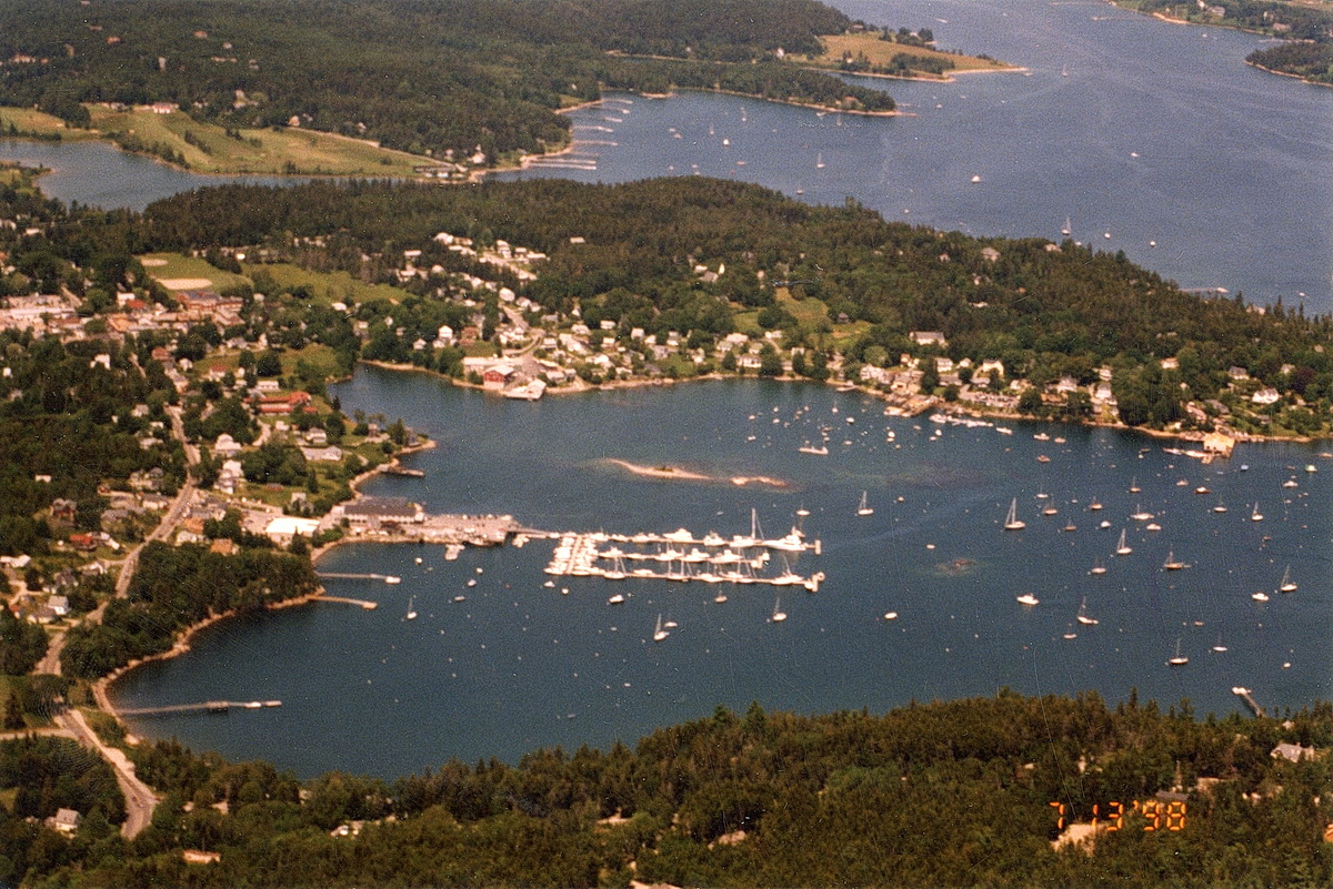 Aerial View of Southwest Harbor - Head of the Harbor and Clark Point